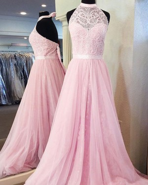 Long Pink High Neck Lace Pleated Prom Dress PM1135