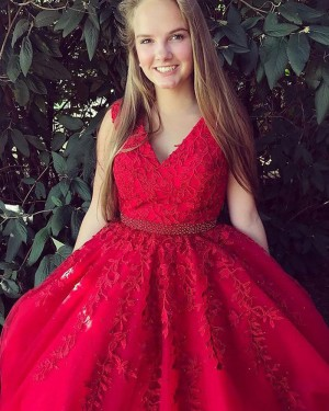 Long Red V-neck Appliqued Prom Dress with Beading Belt PM1136