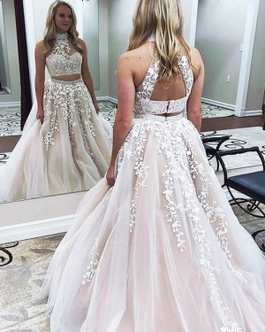 Pearl Pink Two Piece High Neck Ball Gown Prom Dress with Appliques PM1140