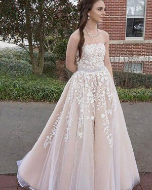 Long Pink Tulle Strapless Appliqued Prom Dress with Beading Belt PM1144