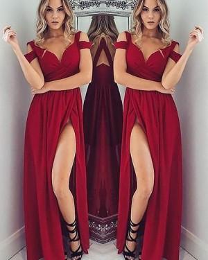 Long Red Cold Shoulder Satin Ruched Prom Dress with Side Slit PM1145