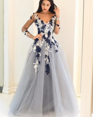 Dusty Blue Appliqued V-neck Ball Gown Prom Dress with Long Sleeves PM1146