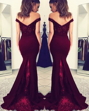 Burgundy Beading Off the Shoulder Appliqued Bodice Satin Mermaid Prom Dress PM1149