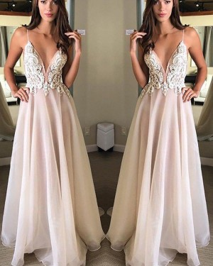 Long Pink Spaghetti Straps Appliqued Chiffon Prom Dress PM1150