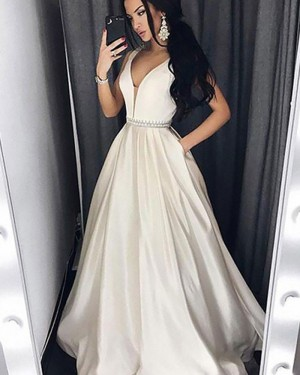 V-neck Satin Ivory and Champagne Ball Gown Prom Dress with Pockets PM1151