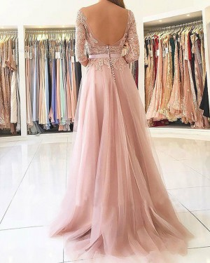 Long Chiffon Slit Bateau Pink Appliqued Prom Dress with 3/4 Length Sleeves PM1152