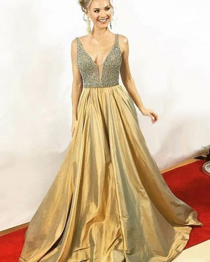 Elegant Long Gold Satin V-neck Beading Bodice Prom Dress PM1155