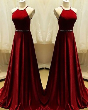 Long Red Halter Satin A-line Prom Dress with Beading PM1158