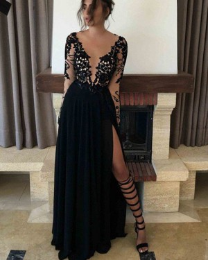 Long Black Sheer Neck Sequin Lace Slit Prom Dress PM1159