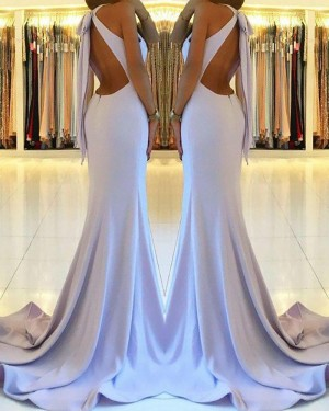 Long Dusty Blue High Neck Cutout Satin Mermaid Prom Dress with Side Slit PM1160
