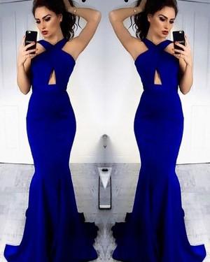Long Blue Crisscross Cutout Mermaid Prom Dress PM1163