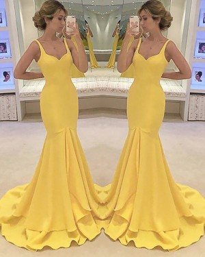 Long Yellow Square Satin Mermaid Prom Dress PM1164