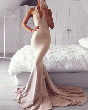 Long Blush Pink Convertible Mermaid Satin Prom Dress PM1165