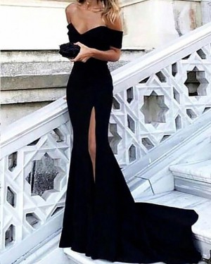 Black Mermaid Off the Shoulder Satin Prom Dress with Side Slit PM1166