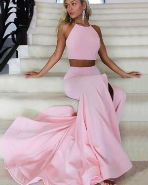 Two Piece Pink Side Slit Halter Mermaid Prom Dress PM1169
