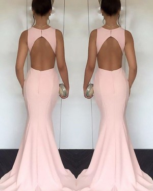 Elegant Long Pink Mermaid Satin Jewel Cutout Prom Dress PM1170