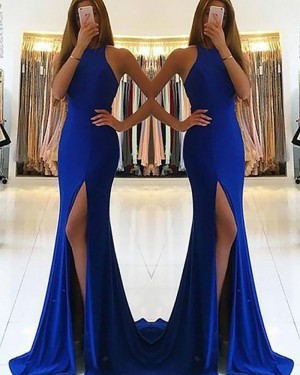Blue Mermaid High Neck Satin Prom Dress with Side Slit PM1171