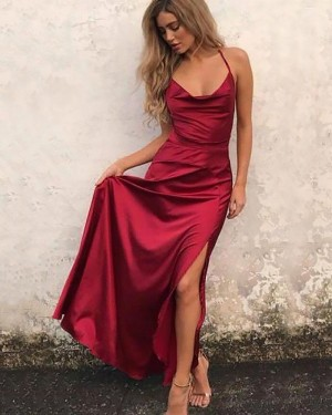 Simple Long Red Satin Spaghetti Straps Tight Prom Dress with Side Slit PM1172