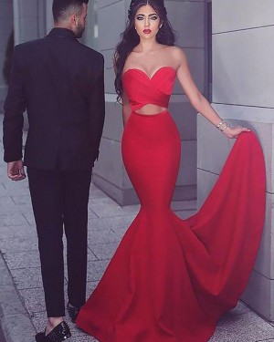 Elegant Satin Mermaid Sweetheart Cutout Prom Dress PM1173