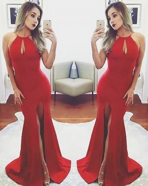 Long Red Halter Satin Mermaid Front Slit Prom Dress PM1174