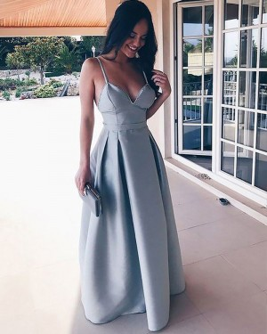 Simple Long Dusty Blue Pleated Square Satin Prom Dress PM1178