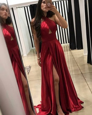 Long Red Satin Crisscross Pleated Prom Dress with Front Slit PM1180