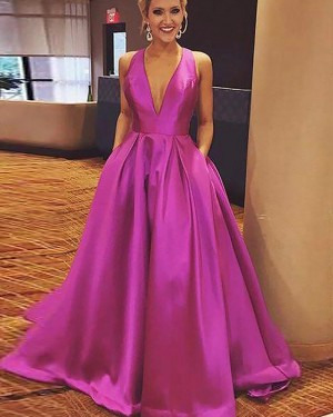 Long Halter Fuchsia Satin Ball Gown Prom Dress with Pockets PM1181