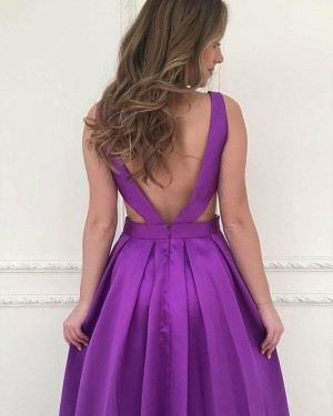 Violet Pleated V-neck Cutout Satin Prom Dress with Pockets PM1182