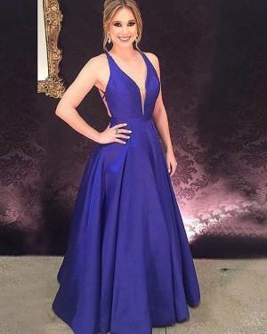 Simple Blue Halter Long Satin Prom Dress with Crisscross Back PM1183