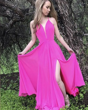 Fuchsia Pleat Spaghetti Straps Chiffon Prom Dress with Side Slit PM1184