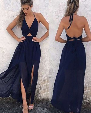 Navy Blue Chiffon Halter Cutout Prom Dress with Double Slits PM1185