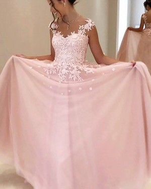 Long Pink Chiffon Sheer Neck Appliqued Prom Dress PM1187