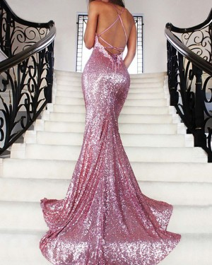 Rose Gold Sequined Spaghetti Straps Mermaid Prom Dress PM1188