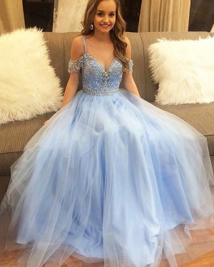 Long Tulle Cold Should Light Blue Beading Bodice Prom Dress PM1192