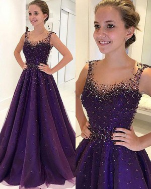 Long Blue Scoop Beading A-line Satin Prom Dress PM1194