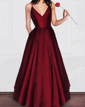 Simple Long Burgundy Spaghetti Straps Pleated Satin Prom Dress with Pockets PM1195