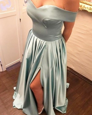 Simple Long Sage Off the Shoulder Pleated Prom Dress with Side Slit PM1196