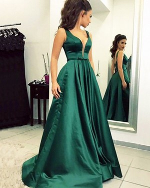 Simple Green Satin Pleated V-neck Ball Gown Prom Dress PM1199