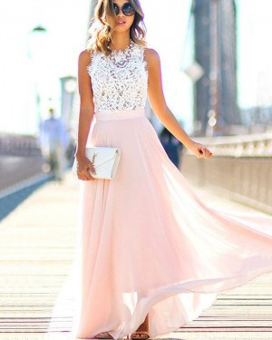 Long White High Neck Lace Bodice Prom Dress with Pink Skirt PM1204