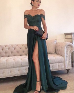 Dark Green Off the Shoulder Lace Bodice Prom Dress with Side Slit PM1207
