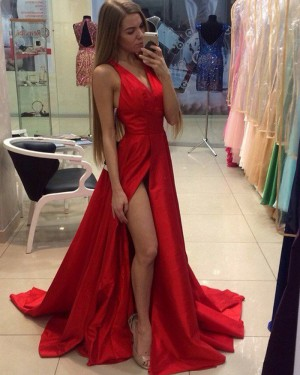 58a37bff1f1 Simple Long Red V-neck Satin Prom Dress with Front Slit PM1211 ...