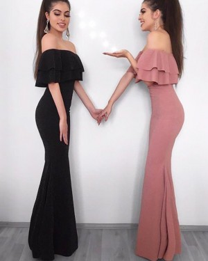 Simple Long Black Mermaid Satin Off the Shoulder Prom Dress PM1212
