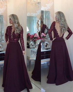 Burgundy Round Neck Beading Bodice Prom Dress with Long Sleeves PM1213