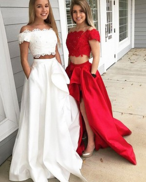 White Off the Shoulder Two Piece Slit Prom Dress with Pockets PM1214