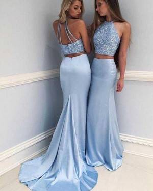Two Piece Blue Halter Beading Satin Mermaid Prom Dress PM1215