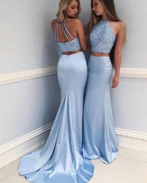 1f60aae82f8 Two Piece Blue Halter Beading Satin Mermaid Prom Dress PM1215