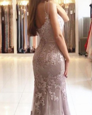 Pink Tulle Spaghetti Straps Appliqued Mermaid Prom Dress PM1217