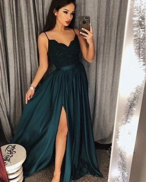 Long Spaghetti Straps Teal Satin Prom Dress with Side Slit PM1218