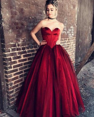 Red Sweetheart Satin Ball Gown Prom Dress PM1219