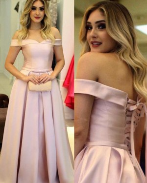 Pink Satin Off the Shoulder Pleated Simple Long Prom Dress PM1220